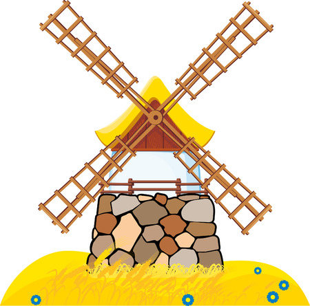 An old windmill located on the field with wheat Stock Vector - 7507365
