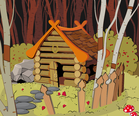 Little wooden House in the Dark Forest Vectores