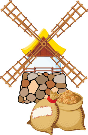 An old windmill and bags with wheat Stock Vector - 7612904