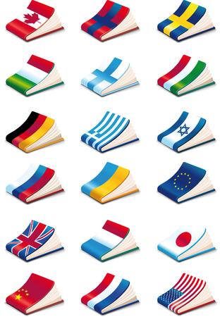 set of eighteen International Language Book Icons