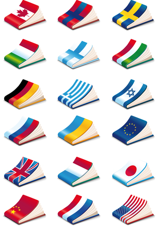 set of eighteen International Language Book Icons Vector