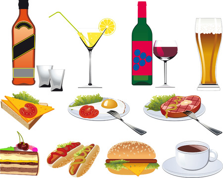 Restaurant Icons set for Menu isolated on white Vector