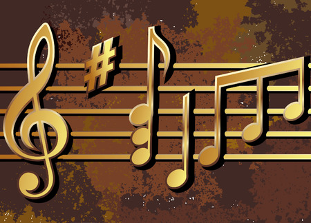 musical notes arranged on a rusty surface Stock Vector - 7704658