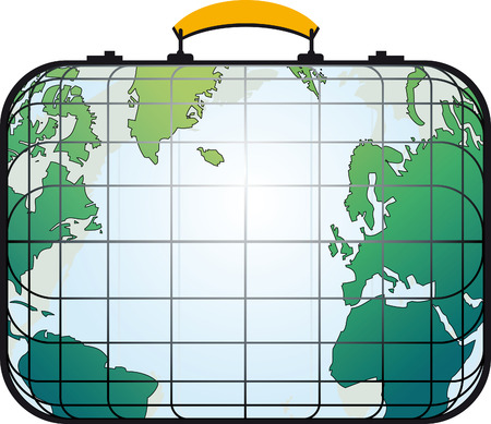 cruise cartoon: Travelers suitcase view like the world map. Illustration