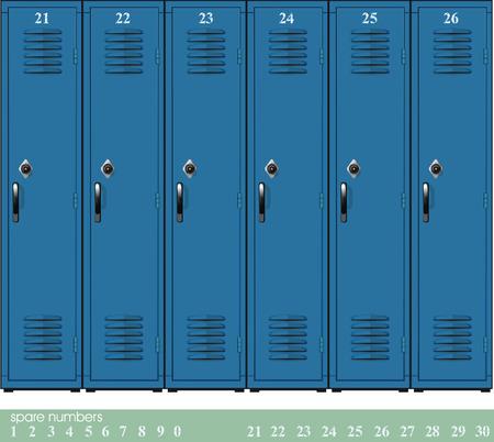 Abteile: Leere blaue Schule Schlie�f�cher mit Combination Locks und spare nambers