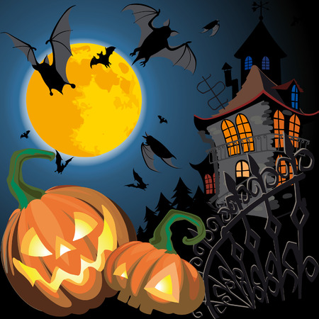 trick: Halloween Card with Pumpkin, old house and moon Illustration