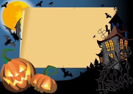 Pumpkin Halloween Card with empty blank scroll Vector