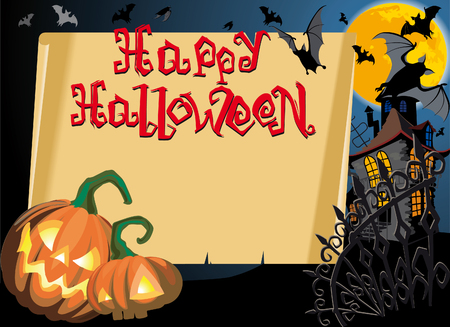 Pumpkin Halloween Card with empty blank scroll and Text Vector