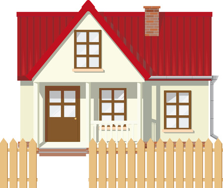 rural houses: Small Mansion rural house with red roof surrounded by a fence Illustration