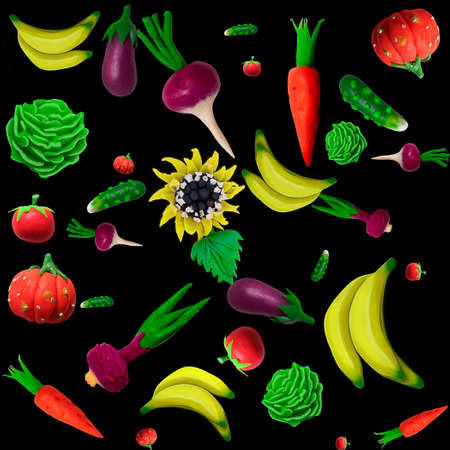 Made of plasticine background of vegetables and other plants photo