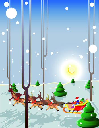 Santa Claus flies reindeer in the light of the moon low over the ground! Vector