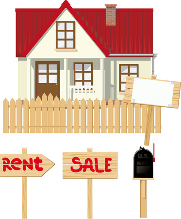 buying real estate: Small rural house being sale or rent. with a mailbox in a set