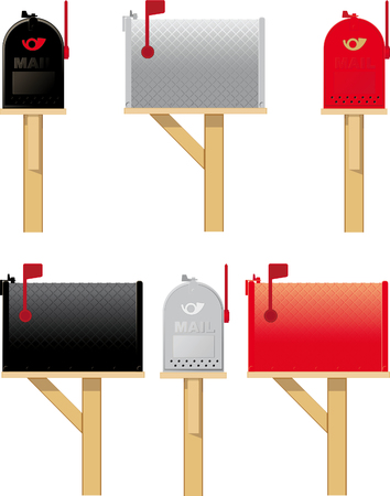 Outdoor mailboxes in three different colors, side view and front view