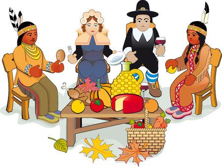 caes: D�a de acci�n de gracias de la ilustraci�n. Los peregrinos y pareja de nativos americano