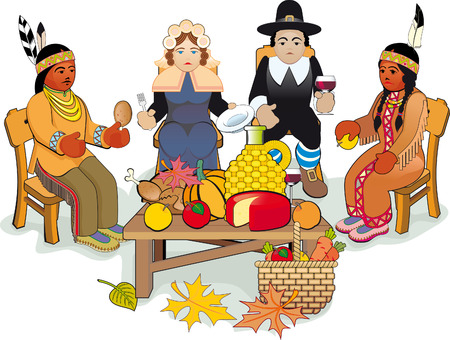 roast dinner: Illustration Thanksgiving Day. Pilgrims and Native American Couple