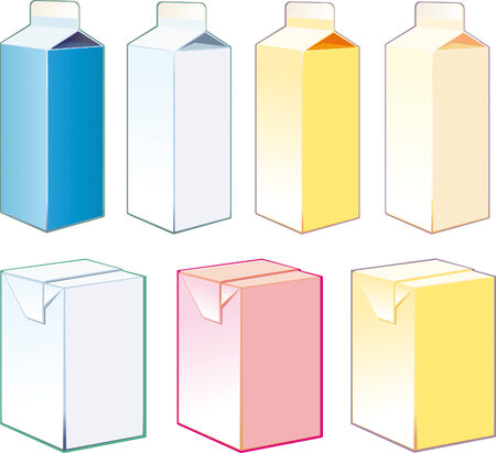 cartons: Paper cartons for milk and juice on a white background