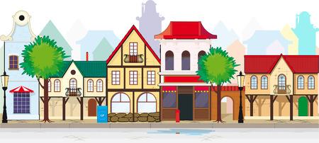 Elegante Calle Vieja, antigua de un pequeño pueblo. Si lo desea, puede añadir longitud Ilustración de vector