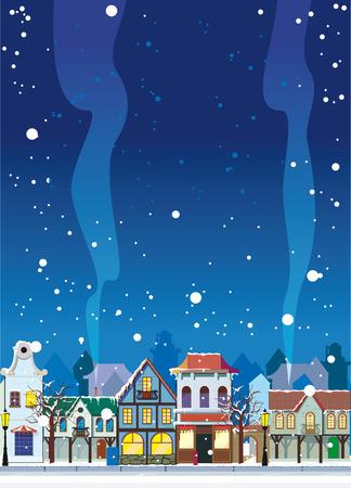 고요한 장면: 작은 마을에서 눈 덮인 겨울. 텍스트에 대 한 빈 공간을 배경