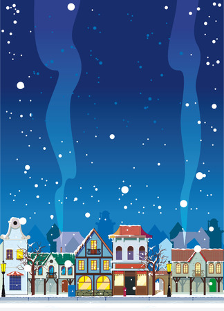 tranquil scene on urban scene: Snowy winter in a small town. Background with an empty space for your text Illustration