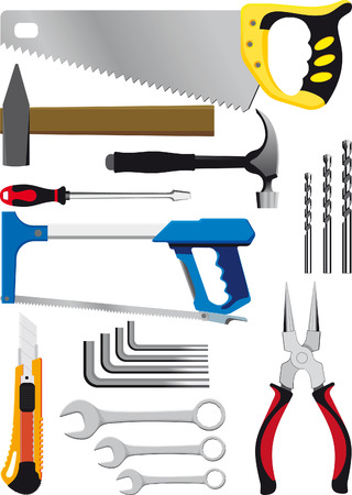 different set of hand tools isolated on white Stock Vector - 8280688