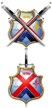 Antique shield and two crossed swords. And a shield and a one sword bonus Stock Photo - 8280689