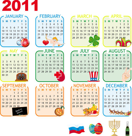 Calendar of monthly events and holidays for 2011 with extra images included Vector