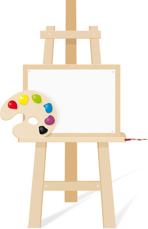 Wooden easel with a empty canvas, palette and brush