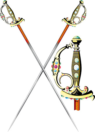 two crossed ornate ceremonial sword isolated on white Vector