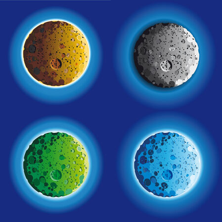 crater: four fool moon surface in different colors Illustration