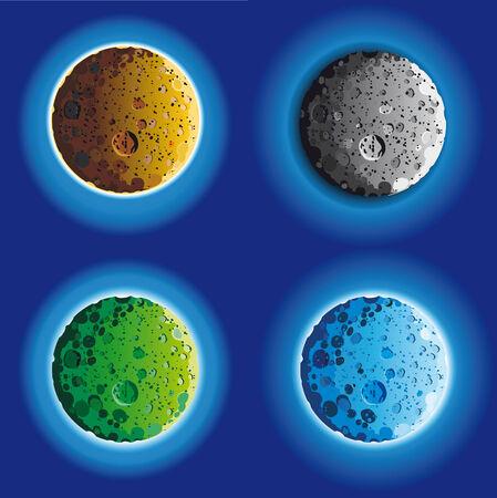 enga�ar: superficie de la Luna de cuatro tonto en diferentes colores