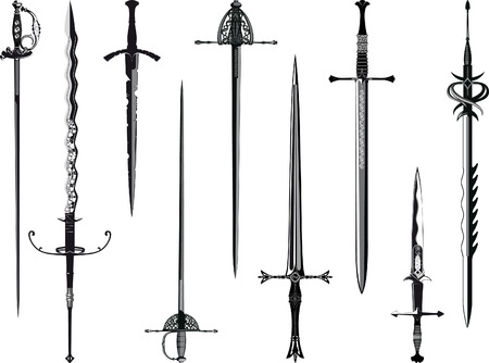 Simplified copy of my collection of swords isolated on white Vector