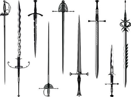 sabel: Vereenvoudigde kopie van mijn verzameling van zwaarden geïsoleerd op wit Stock Illustratie