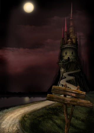 Another Night landscape. Another tower and the Moon
