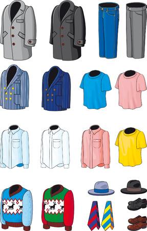 business shirts: Desgaste de la de hombres en blanco. Negocio, casual y ropa de deportes Vectores