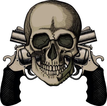 hooligan: Sch�del und zwei gekreuzten Revolver. Die Abbildung auf wei�em Hintergrund