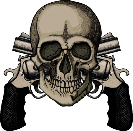 Skull and two crossed revolvers. The illustration on white background Vector