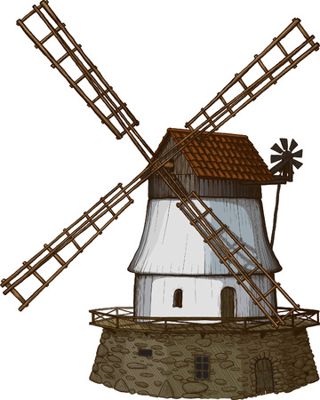 farm structures: Old windmill drawn in a woodcut like method