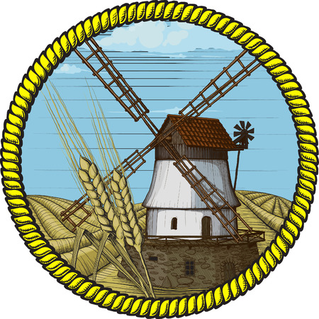 label windmill drawn in a woodcut like method Stock Vector - 9098713