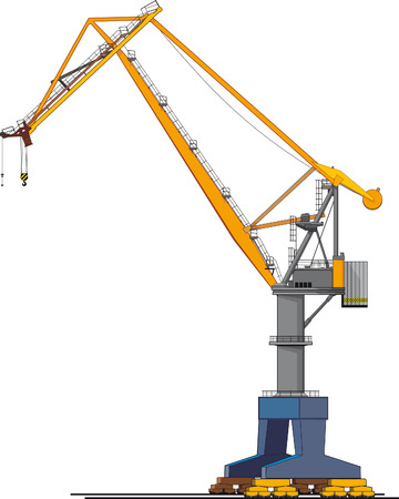 hoisting: image of big shipyard crane isolated on white Illustration