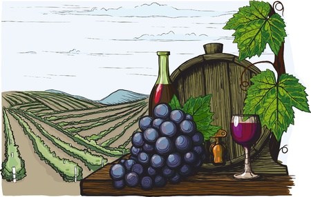 Landscape with views of vineyards, tanks for wine and grapes. in a woodcut like method Vectores