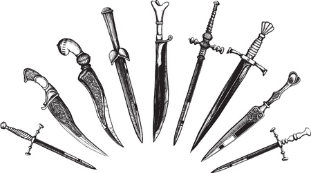 Set of Oriental and European Daggers in a woodcut like method Vector