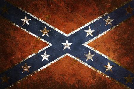 Vintage close-up of Confederate Flag. Grunge Background
