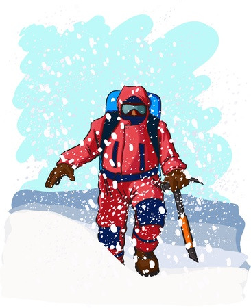mountain climbers dressed in red climbs up a snowy slope. Stock Vector - 9277864