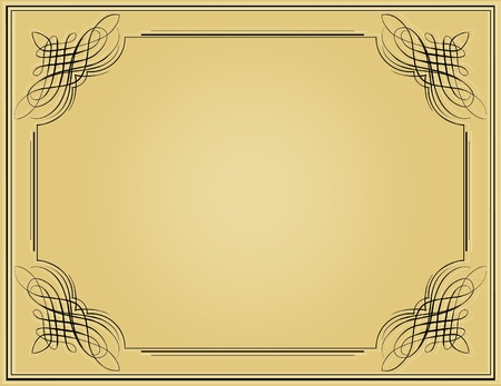 simple border: Decorative black vintage frame in beige background
