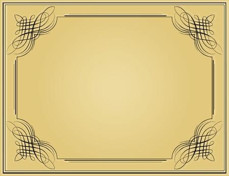 Decorative black vintage frame in beige background