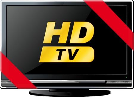 Moderne LSD HD TV met een rood lint en de woorden HD geïsoleerd op wit