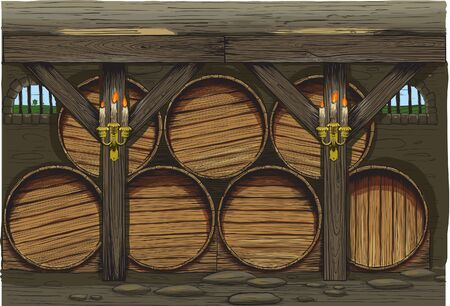 fermentation: An old wine barrels of a traditional wine producer Illustration