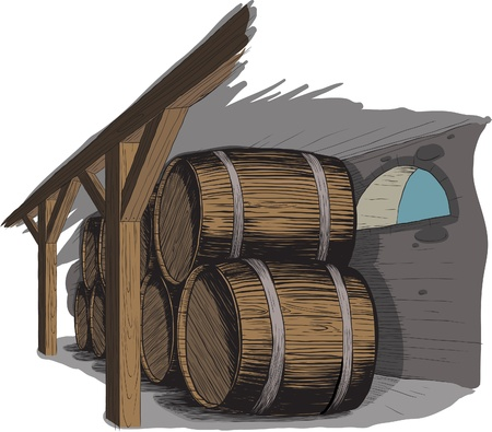 old wine cellar with rows of barrels. like woodcut technique Stock Vector - 9594421