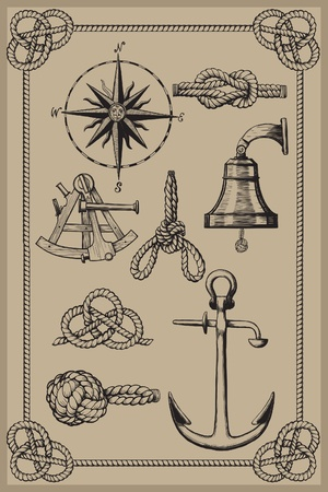 Nautical elements on vintage background. drawing woodcut method.