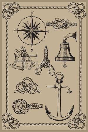 Nautische elementen op vintage achtergrond. tekenen houtsnede methode. Stock Illustratie